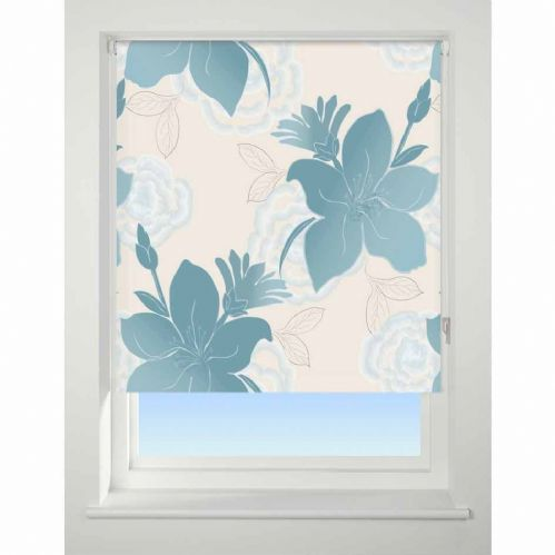 Universal Patterned Blackout Roller Blind - Lily Teal